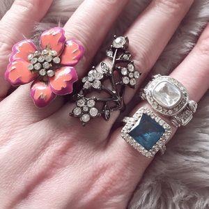 4 Statement Aus Crystal Ring Bling Lot